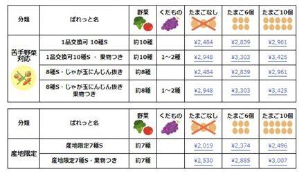 ぱれっとコース・価格一覧表-3