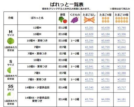 ぱれっとコース・価格一覧表-2