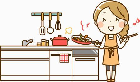 台所で料理